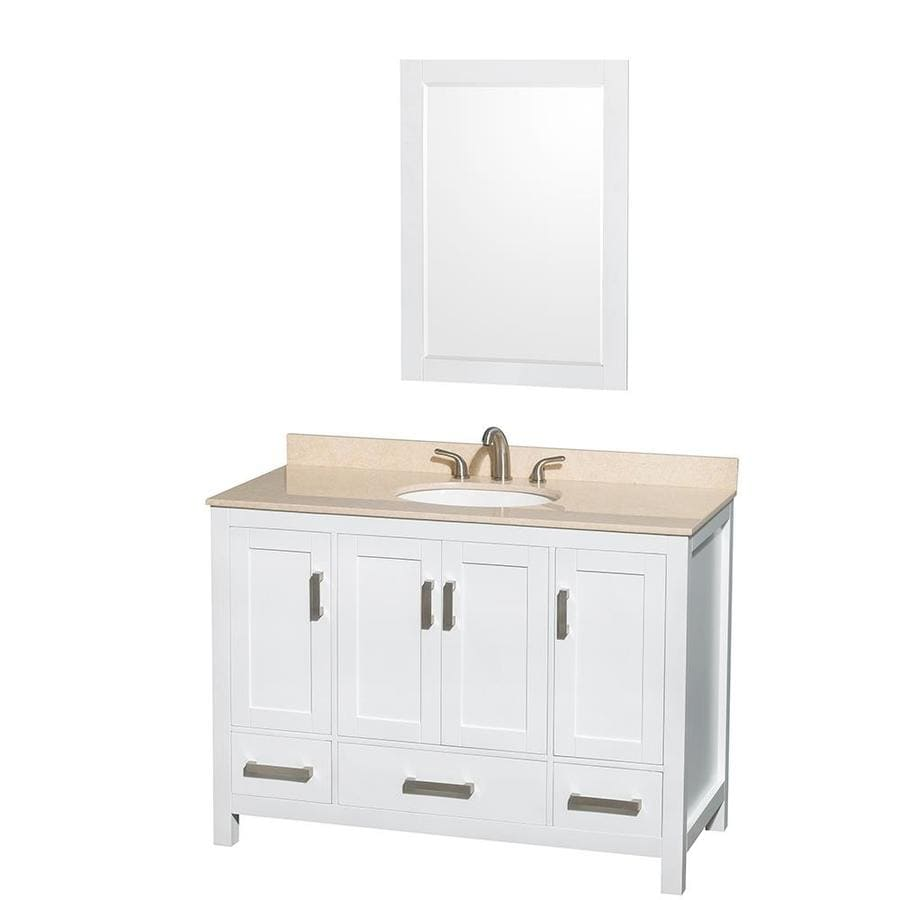 Wyndham Collection Sheffield White Undermount Single Sink Bathroom Vanity with Natural Marble Top (Common: 48-in x 22-in; Actual: 48-in x 22-in)