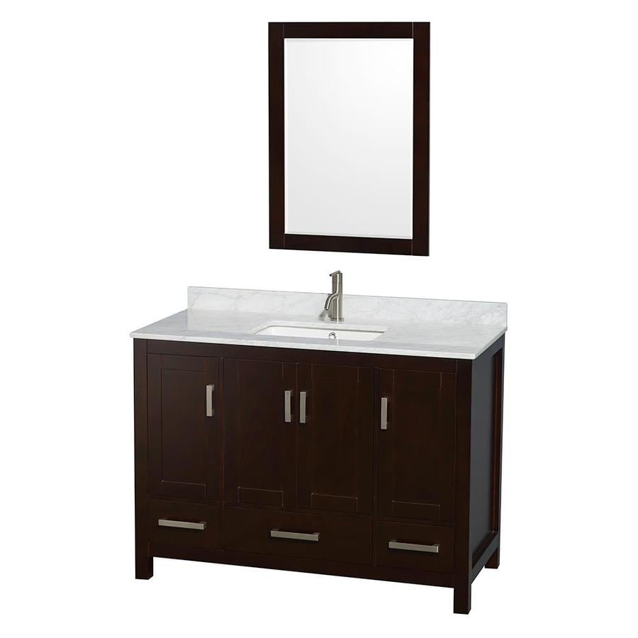 Wyndham Collection Sheffield Espresso 48-in Undermount Single Sink Birch Bathroom Vanity with Natural Marble Top (Mirror Included)