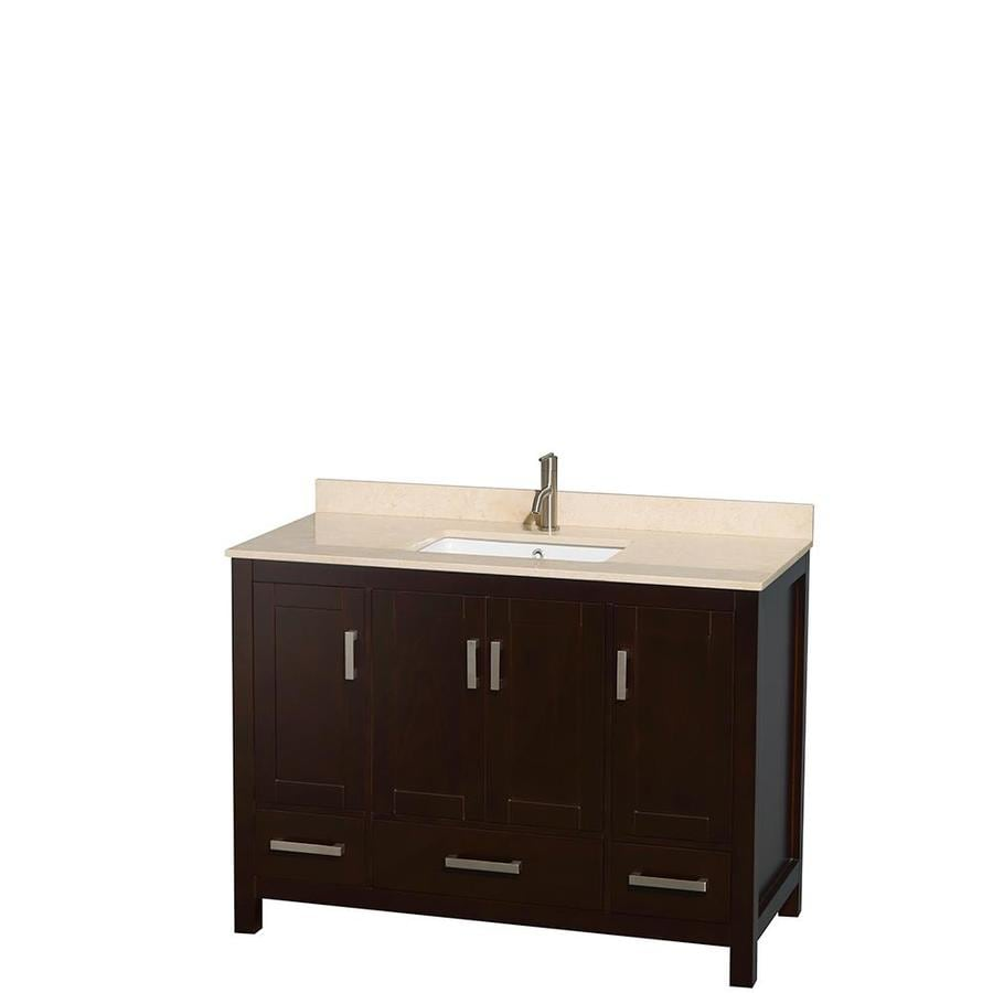 Wyndham Collection Sheffield Espresso Undermount Single Sink Bathroom Vanity with Natural Marble Top (Common: 48-in x 22-in; Actual: 48-in x 22-in)
