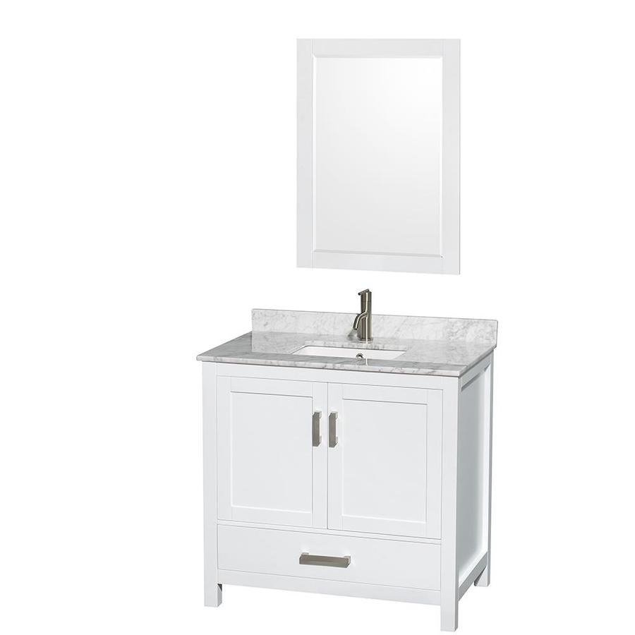 Wyndham Collection Sheffield White Undermount Single Sink Bathroom Vanity with Natural Marble Top (Common: 36-in x 22-in; Actual: 36-in x 22-in)