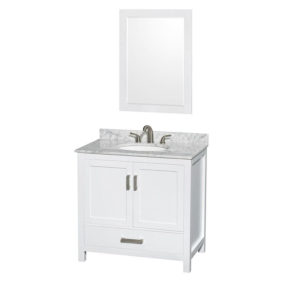 Wyndham Collection Sheffield White 36-in Undermount Single Sink Birch Bathroom Vanity with Natural Marble Top (Mirror Included)