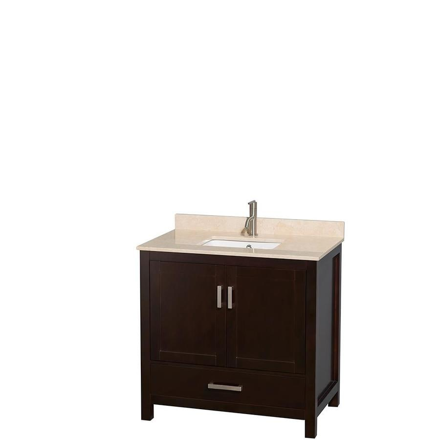 Wyndham Collection Sheffield Espresso Undermount Single Sink Bathroom Vanity with Natural Marble Top (Common: 36-in x 22-in; Actual: 36-in x 22-in)