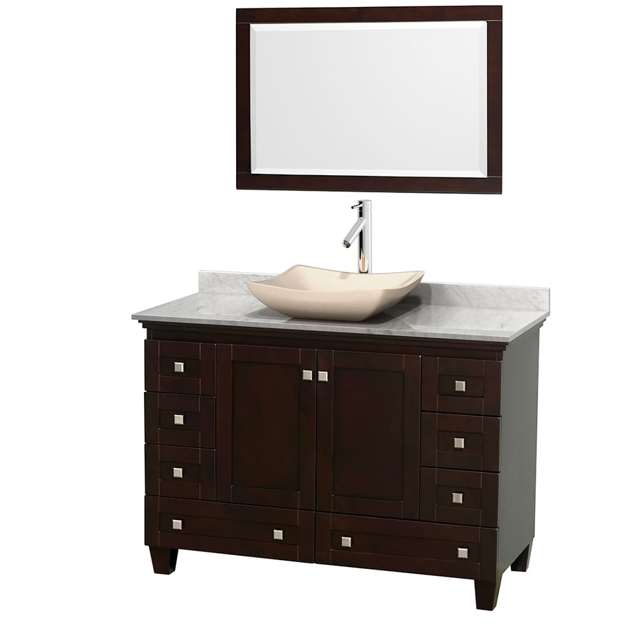 Wyndham Collection Acclaim Espresso 48-in Vessel Single Sink Oak Bathroom Vanity with Natural Marble Top (Mirror Included)