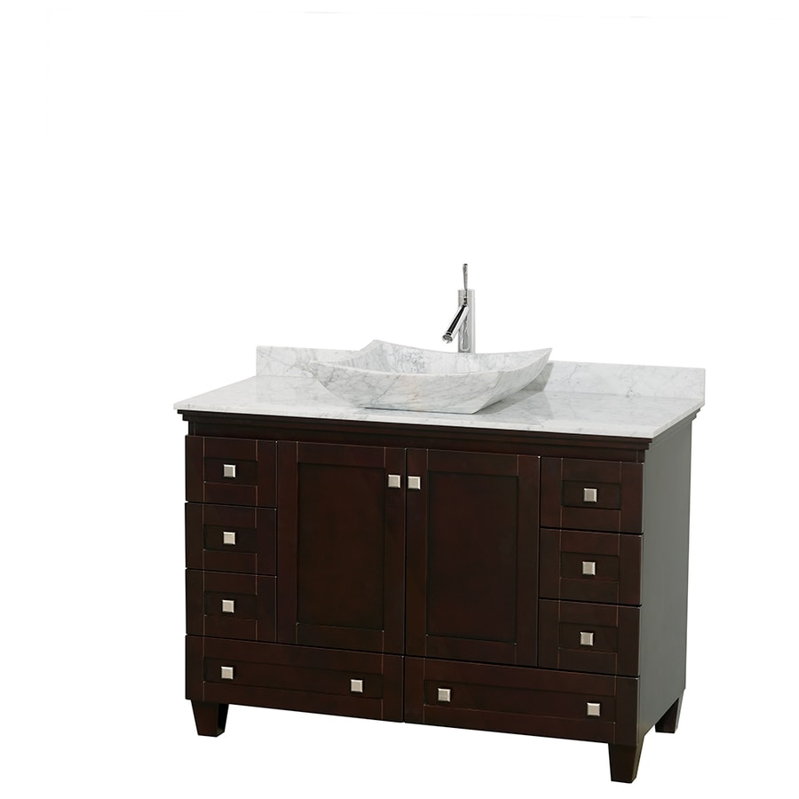 Wyndham Collection Acclaim Espresso 48-in Vessel Single Sink Oak Bathroom Vanity with Natural Marble Top