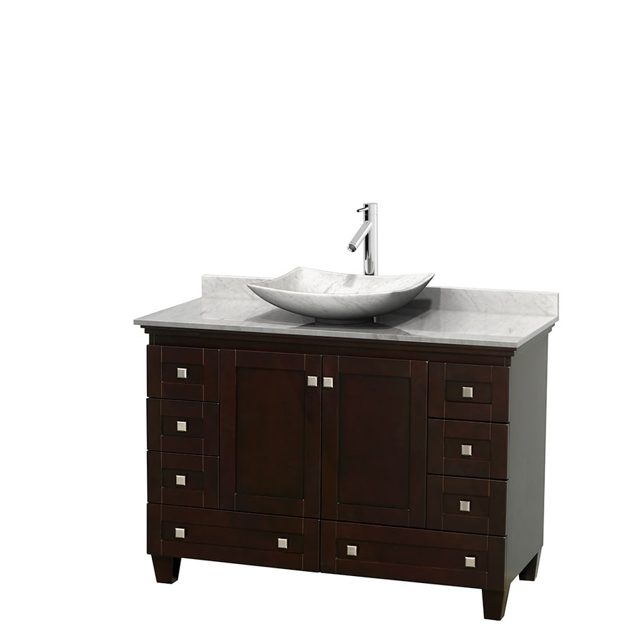 Wyndham Collection Acclaim Espresso Single Vessel Sink Bathroom Vanity with Natural Marble Top (Common: 48-in x 22-in; Actual: 48-in x 22-in)