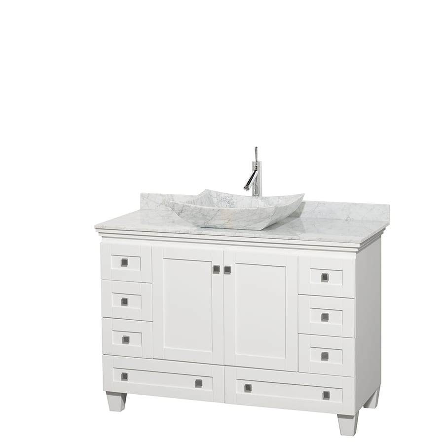 Wyndham Collection Acclaim White 48-in Vessel Single Sink Oak Bathroom Vanity with Natural Marble Top