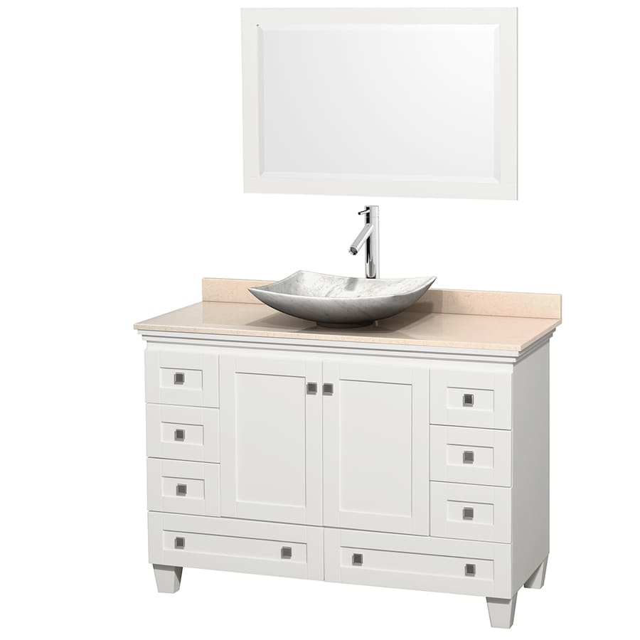 Wyndham Collection Acclaim White Single Vessel Sink Bathroom Vanity with Natural Marble Top (Common: 48-in x 22-in; Actual: 48-in x 22-in)