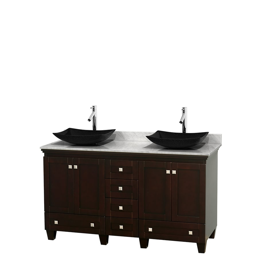 Wyndham Collection Acclaim Espresso (Common: 60-in x 22-in) Vessel Double Sink Oak Bathroom Vanity with Natural Marble Top (Actual: 60-in x 22-in)