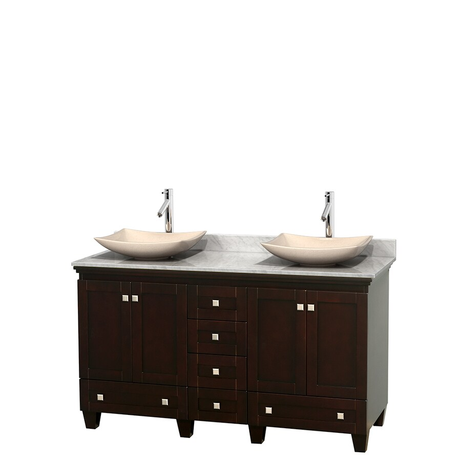 Wyndham Collection Acclaim Espresso 60-in Vessel Double Sink Oak Bathroom Vanity with Natural Marble Top