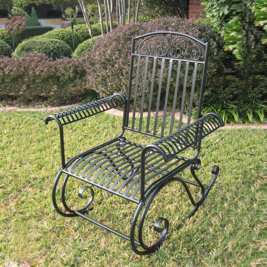 International Caravan Mandalay Wrought Iron Rocking Chair With Strap