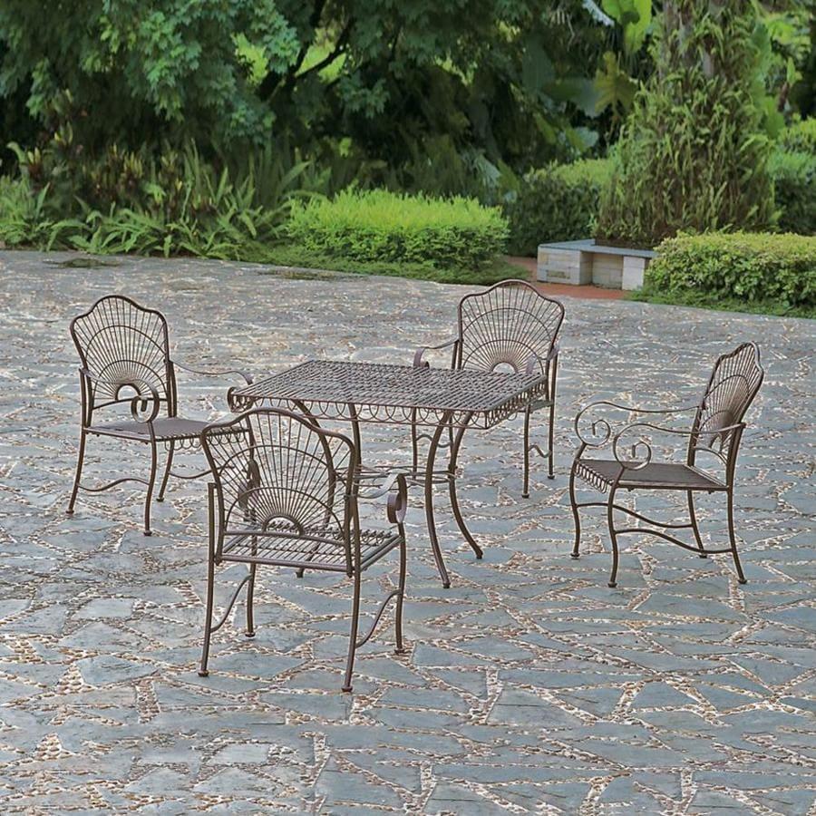 International Caravan Sun Ray 5 Piece Hammered Bronze Wrought Iron Patio Dining Set