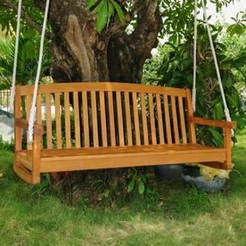 International Caravan Royal Tahiti 3 Person Light Teak Oil Wood Outdoor Swing