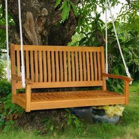 International Caravan Royal Tahiti 2 Person Light Teak Oil Wood Outdoor Swing