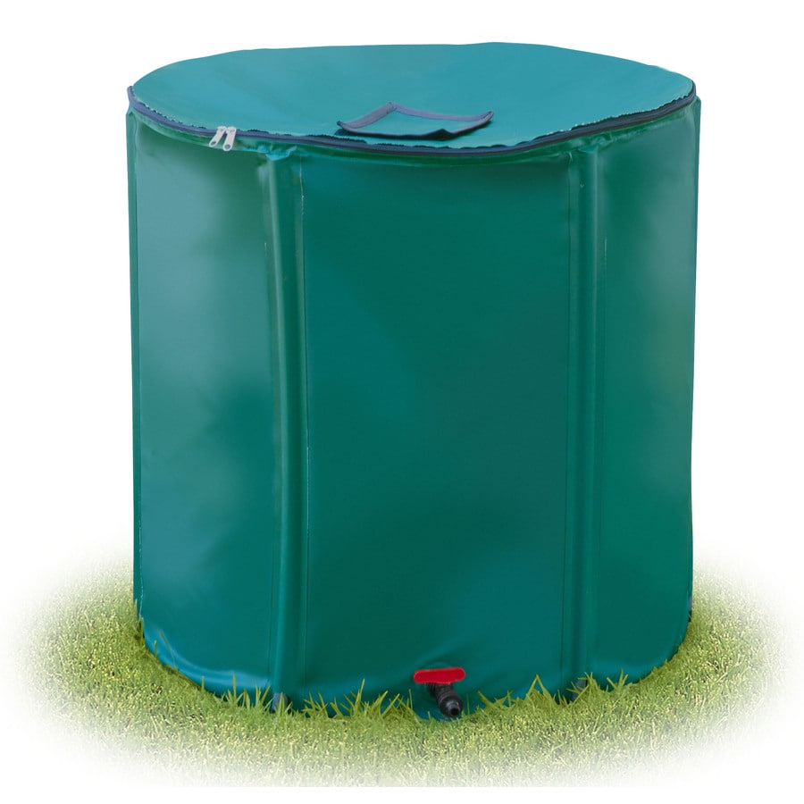 STC 52-Gallon Green Plastic Rain Barrel with Diverter and Spigot