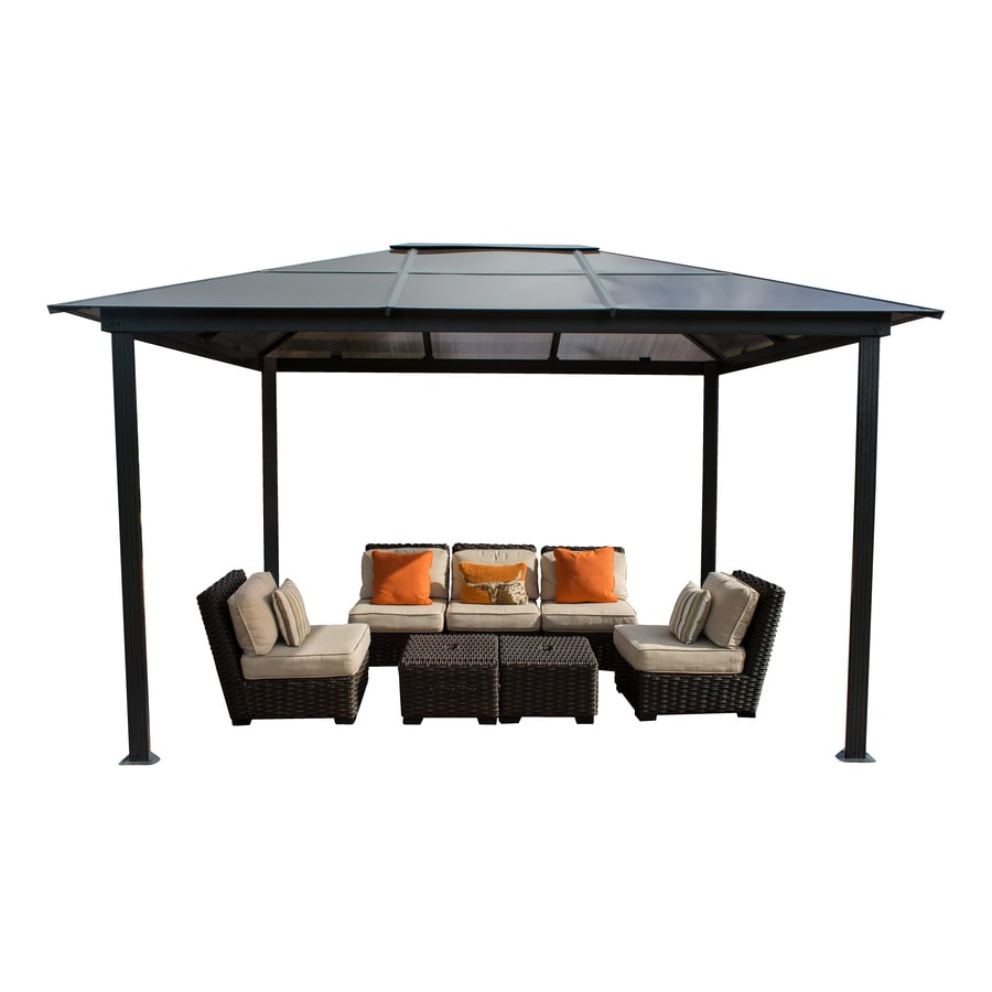 STC Battleship Gray Rectangle Gazebo (Foundation: 8.11-ft x 11.11-ft)