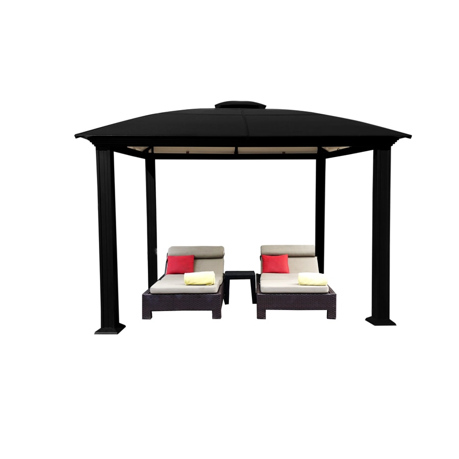 STC Black Aluminum Square Permanent Gazebo (Exterior: 12-ft x 12-ft; Foundation: 10.7-ft x 10.7-ft)