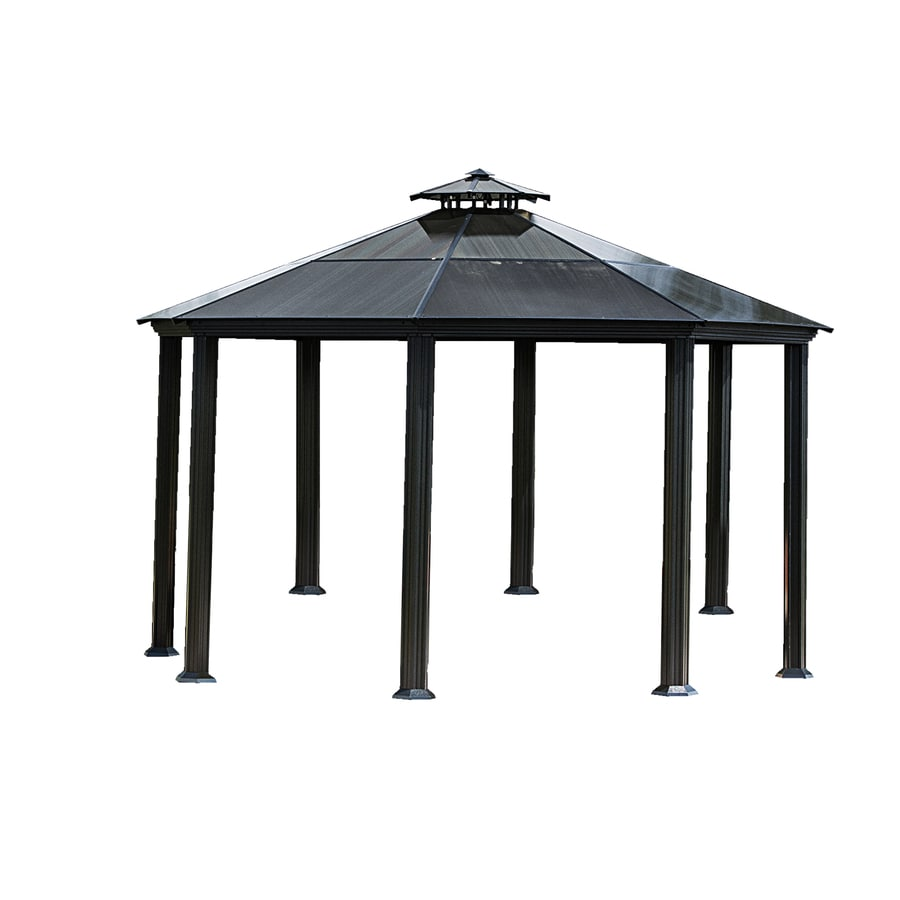 STC Black Octagon Gazebo (Foundation: 14.5-ft x 14.5-ft)