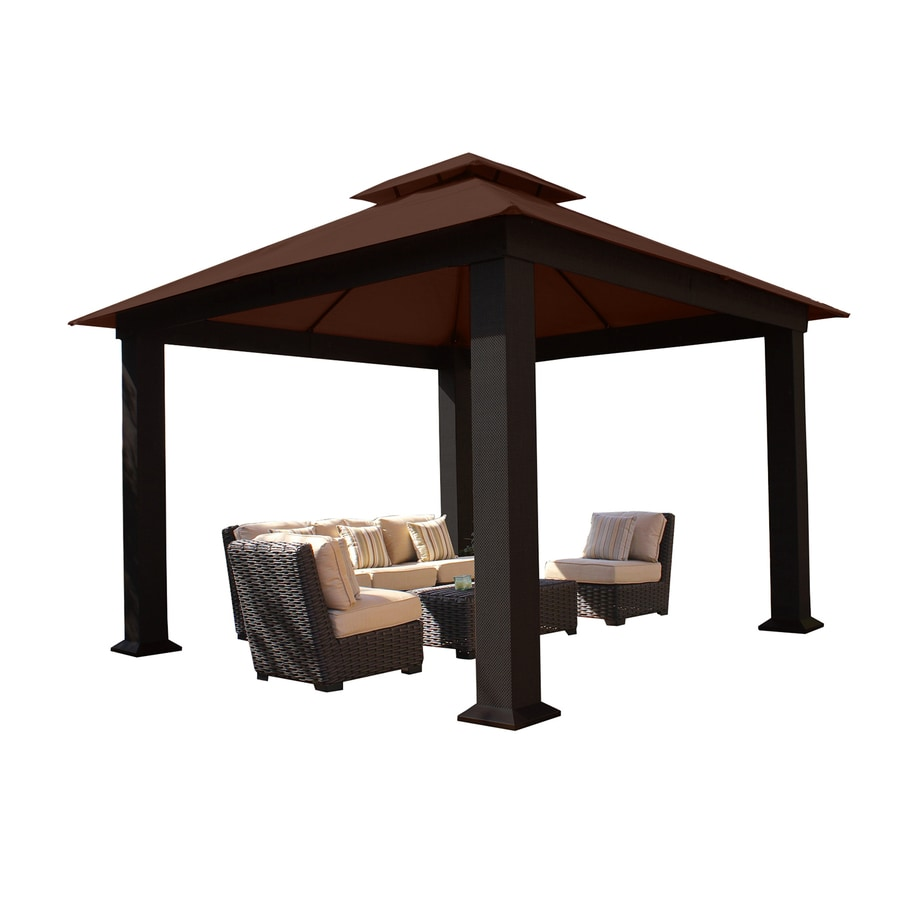 STC Brown/Dark Brown Steel Square Permanent Gazebo (Exterior: 12-ft x 12-ft; Foundation: 10.53-ft x 10.53-ft)