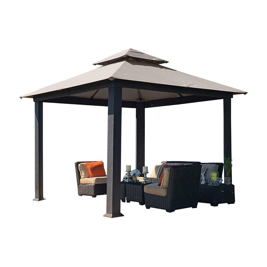 STC Sand/Brown Aluminum Square Permanent Gazebo (Exterior: 9.7-ft x 9.7-ft; Foundation: 9.7-ft x 9.7-ft)
