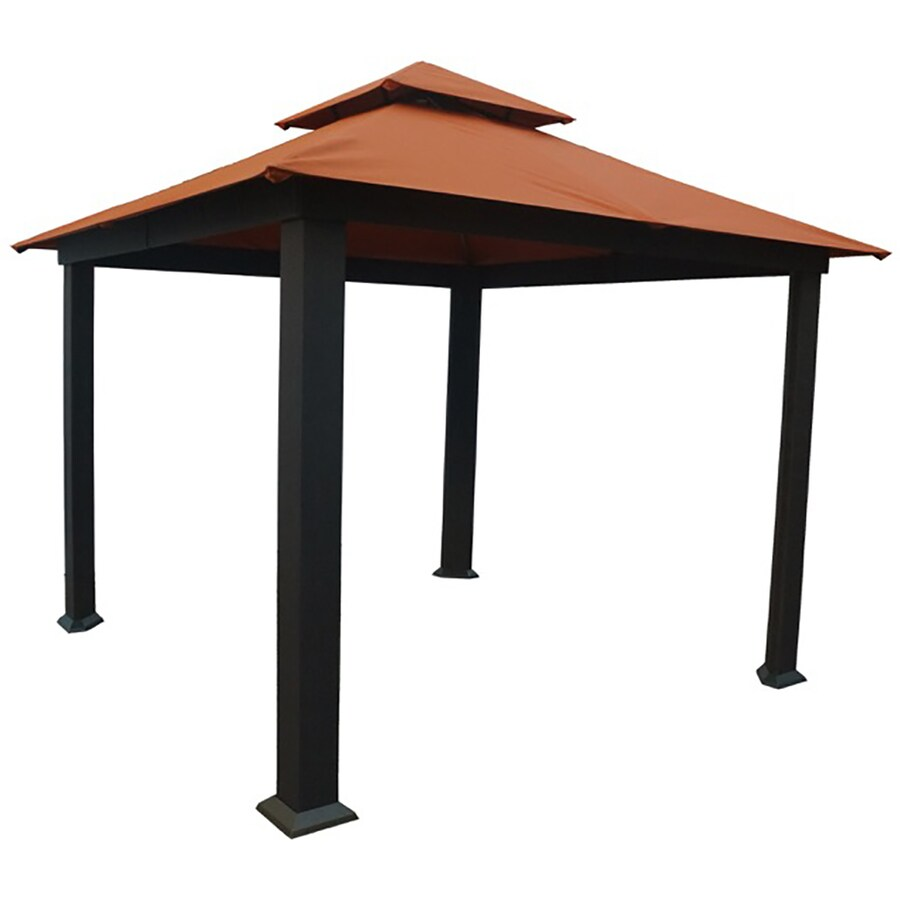 STC Brown/Rust Aluminum Square Gazebo (Exterior: 10.5-ft x 10.5-ft; Foundation: 9.7-ft x 9.7-ft)