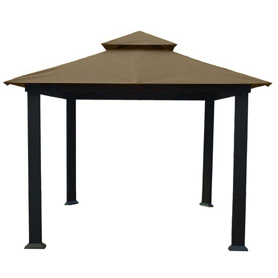 STC Brown/Cocoa Aluminum Square Permanent Gazebo (Exterior: 10.5-ft x 10.5-ft; Foundation: 9.7-ft x 9.7-ft)