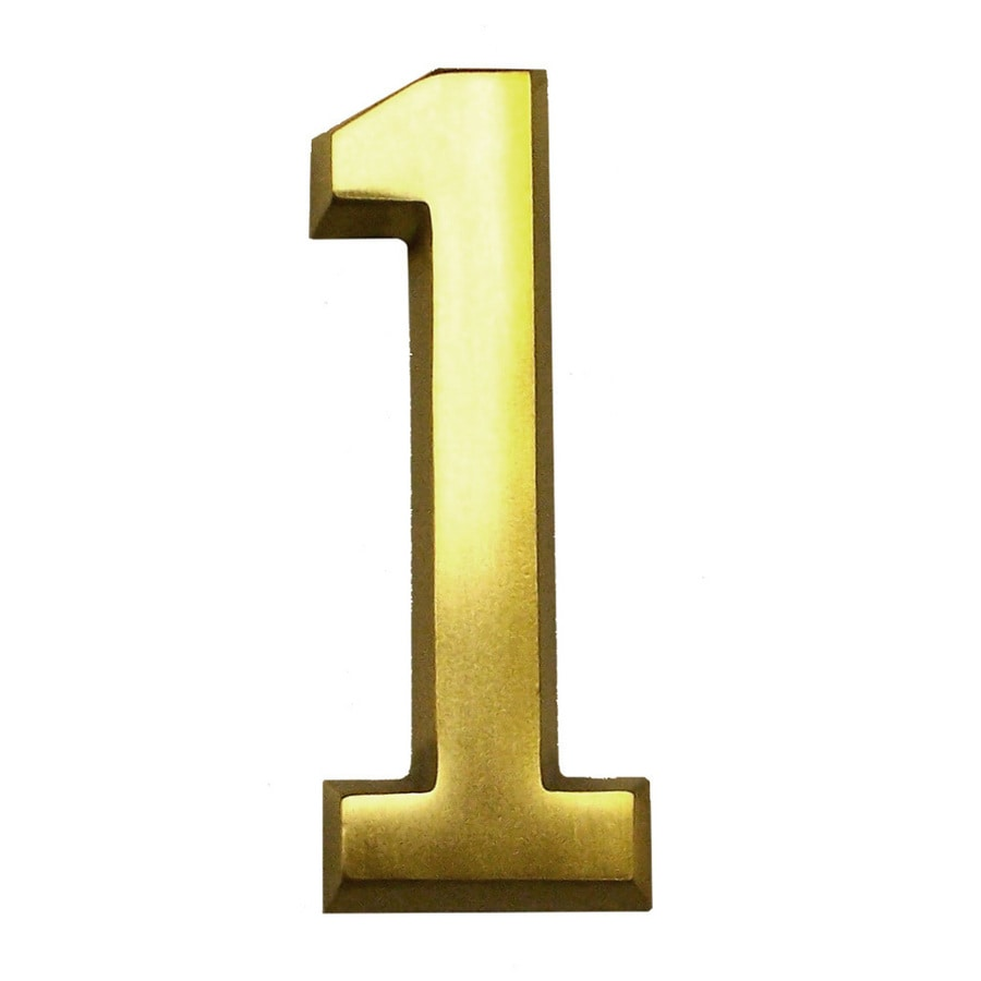 Gaines Manufacturing 4-in Polished Brass House Number # 1