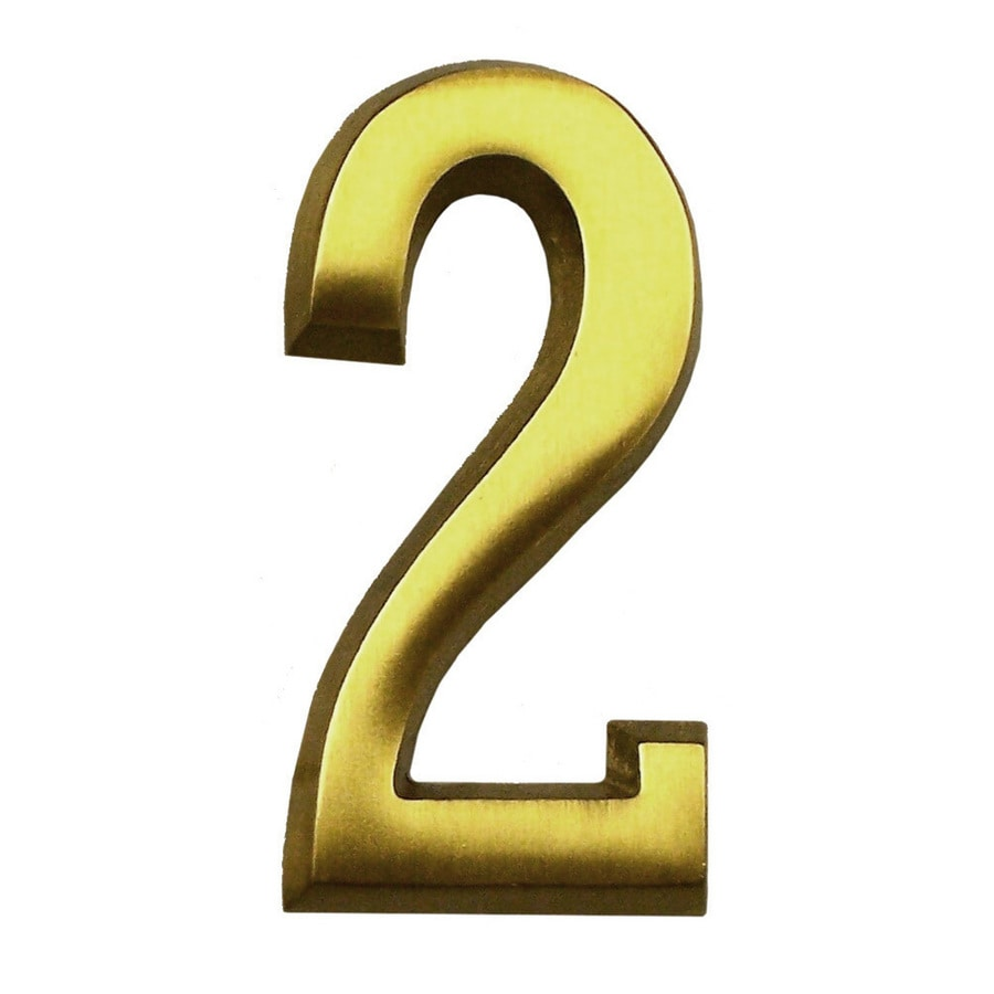 Gaines Manufacturing 4-in Polished Brass House Number # 2