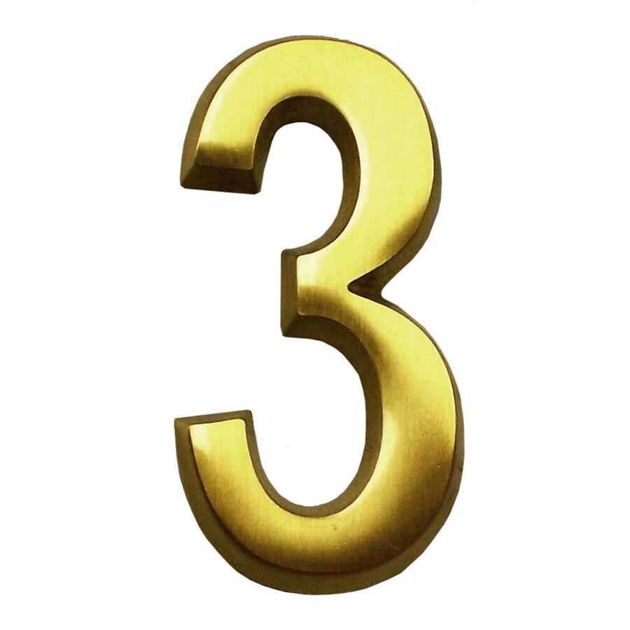 Gaines Manufacturing 4-in Polished Brass House Number # 3