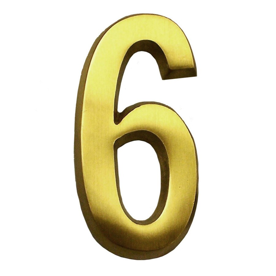 Gaines Manufacturing 4-in Polished Brass House Number # 6