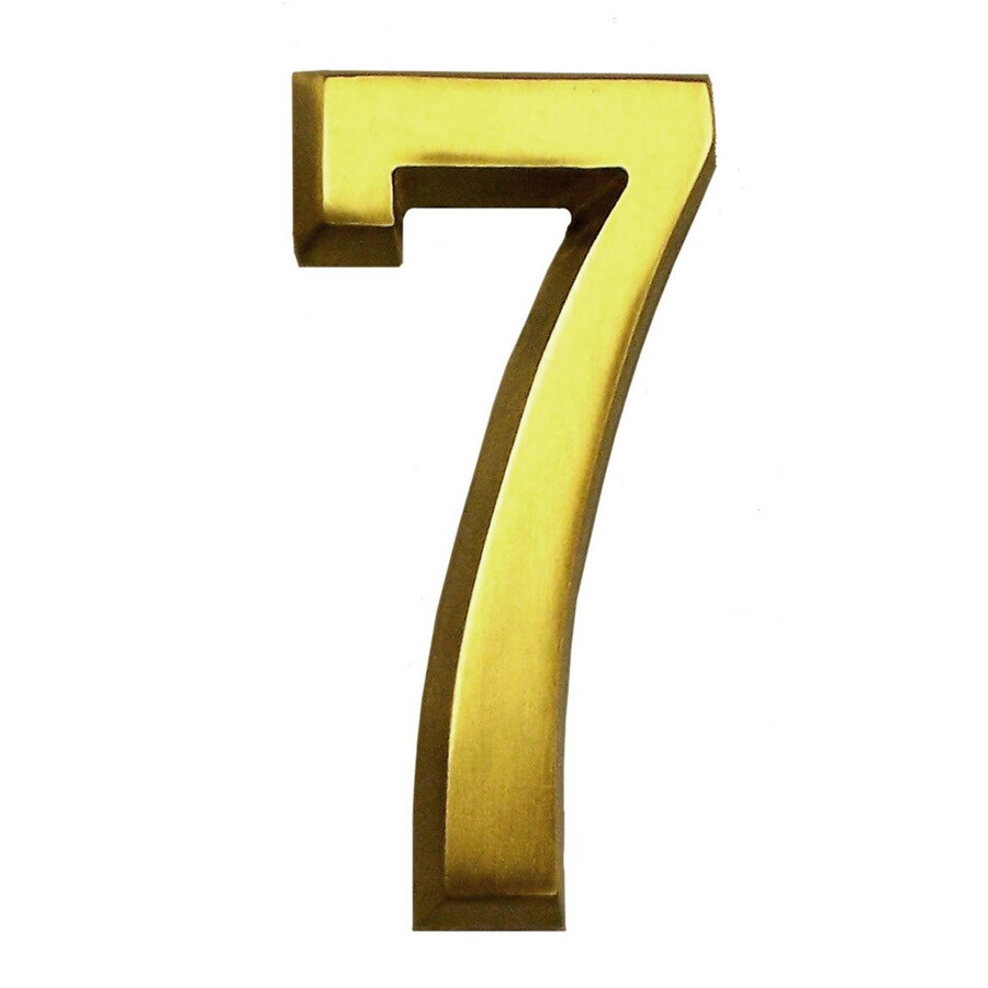 Gaines Manufacturing 4-in Polished Brass House Number # 7