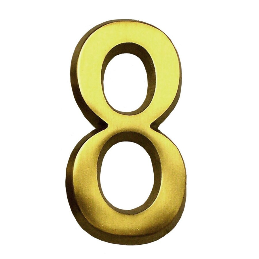 Gaines Manufacturing 4-in Polished Brass House Number # 8
