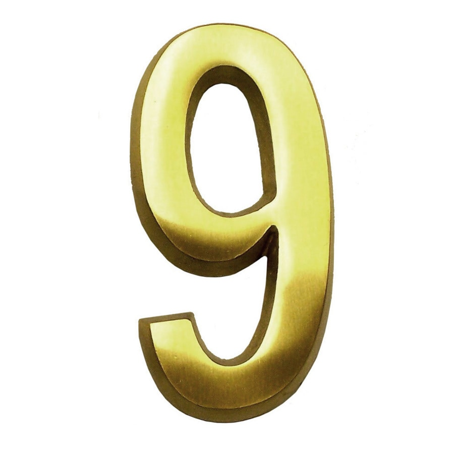 Gaines Manufacturing 4-in Polished Brass House Number # 9
