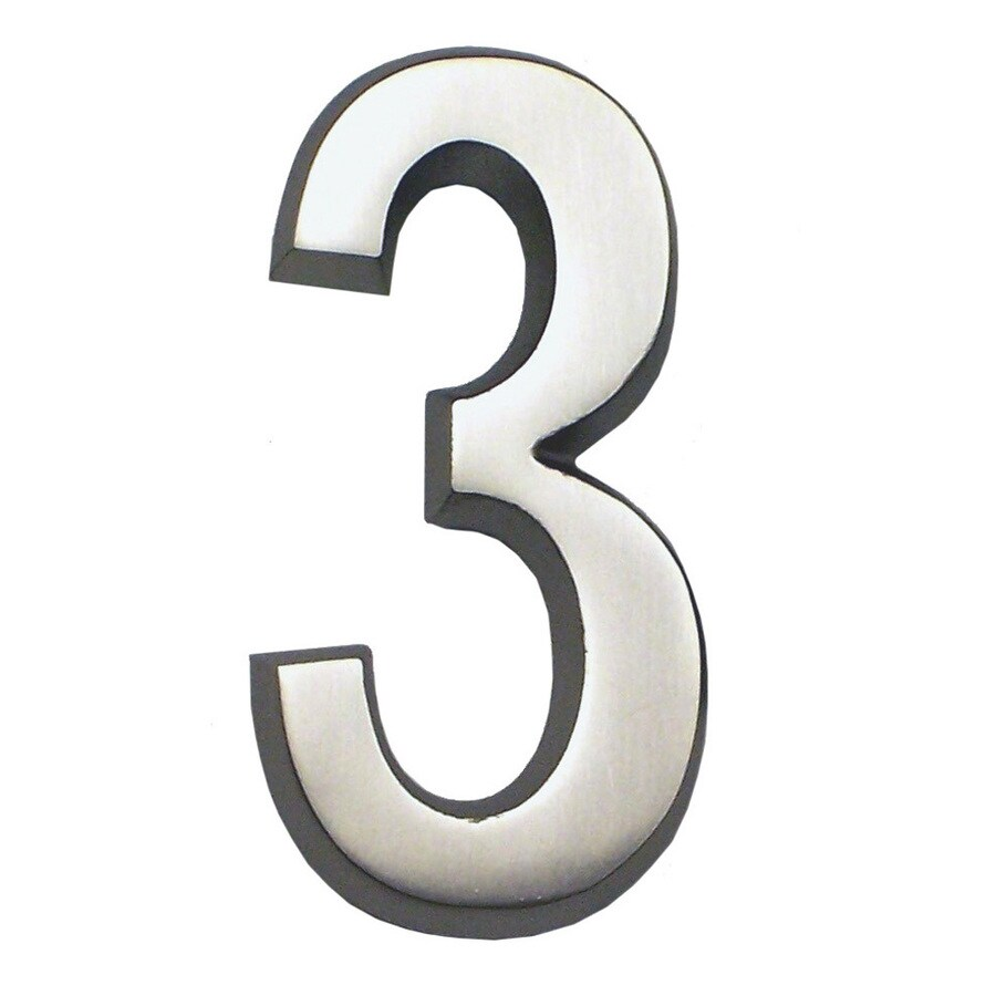 Gaines Manufacturing 5.75-in Satin Nickel House Number # 3