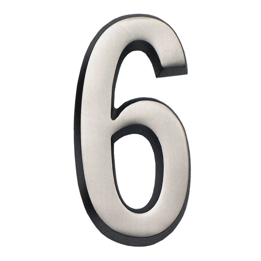 Gaines Manufacturing 5.75-in Satin Nickel House Number # 6