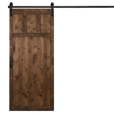 online store 60093 f134d Craftsman Walnut Stained 3-Panel Wood Knotty Alder Barn Door Hardware  Included (Common: 36-in x 84-in; Actual: 36-in x 84-in)