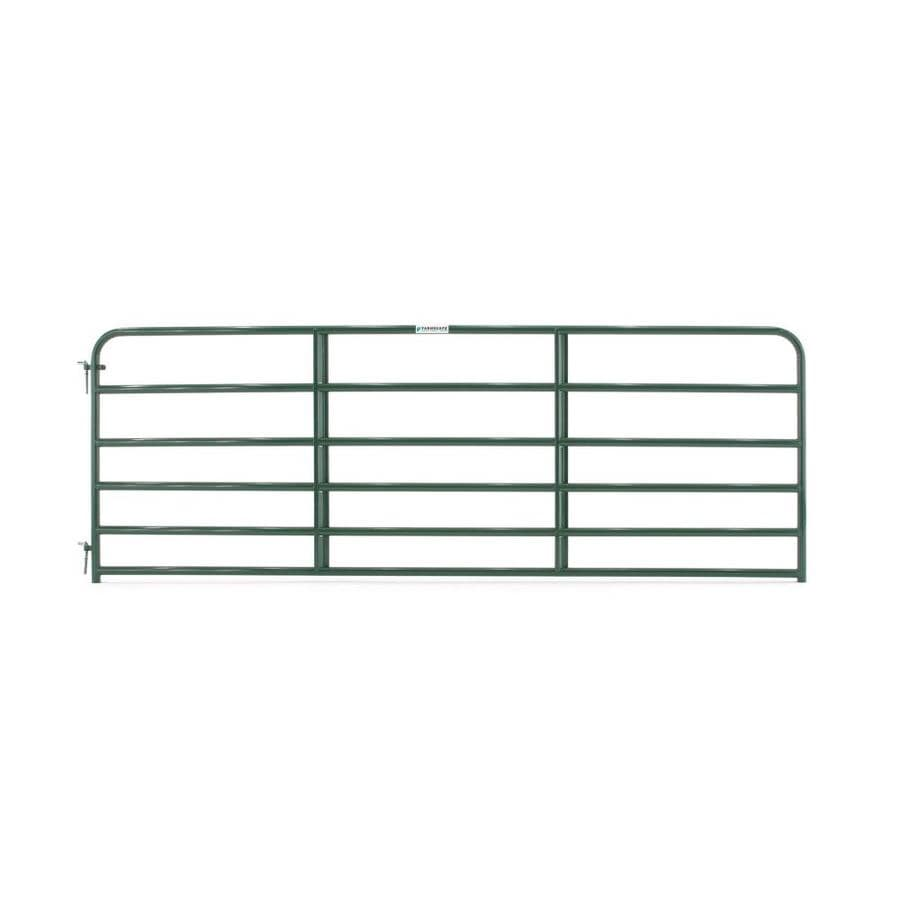 Tarter (Common: 4.16-ft x 12-ft; Actual: 4.16-ft x 11.75-ft) Green Powder Over E-Coat Steel Farm Fence Gate