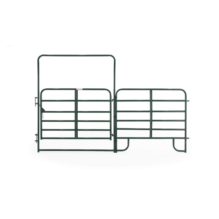 Tarter (Common: 8-ft x 12-ft; Actual: 8-ft x 12.58-ft) Green Powder Over E-Coat Steel Farm Fence Walk-Thru Gate