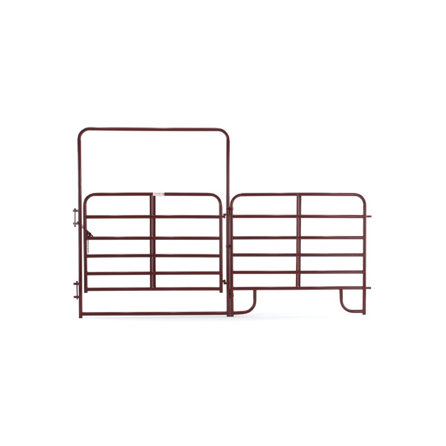 Tarter (Common: 8-ft x 12-ft; Actual: 8-ft x 12.58-ft) Red E-Coat Steel Farm Fence Walk-Thru Gate