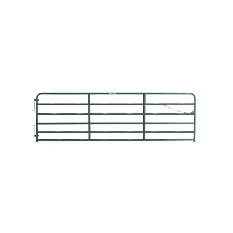 Tarter (Common: 4.33-ft x 14-ft; Actual: 4.33-ft x 13.75-ft) Green Powder Over E-Coat Steel Farm Fence Gate