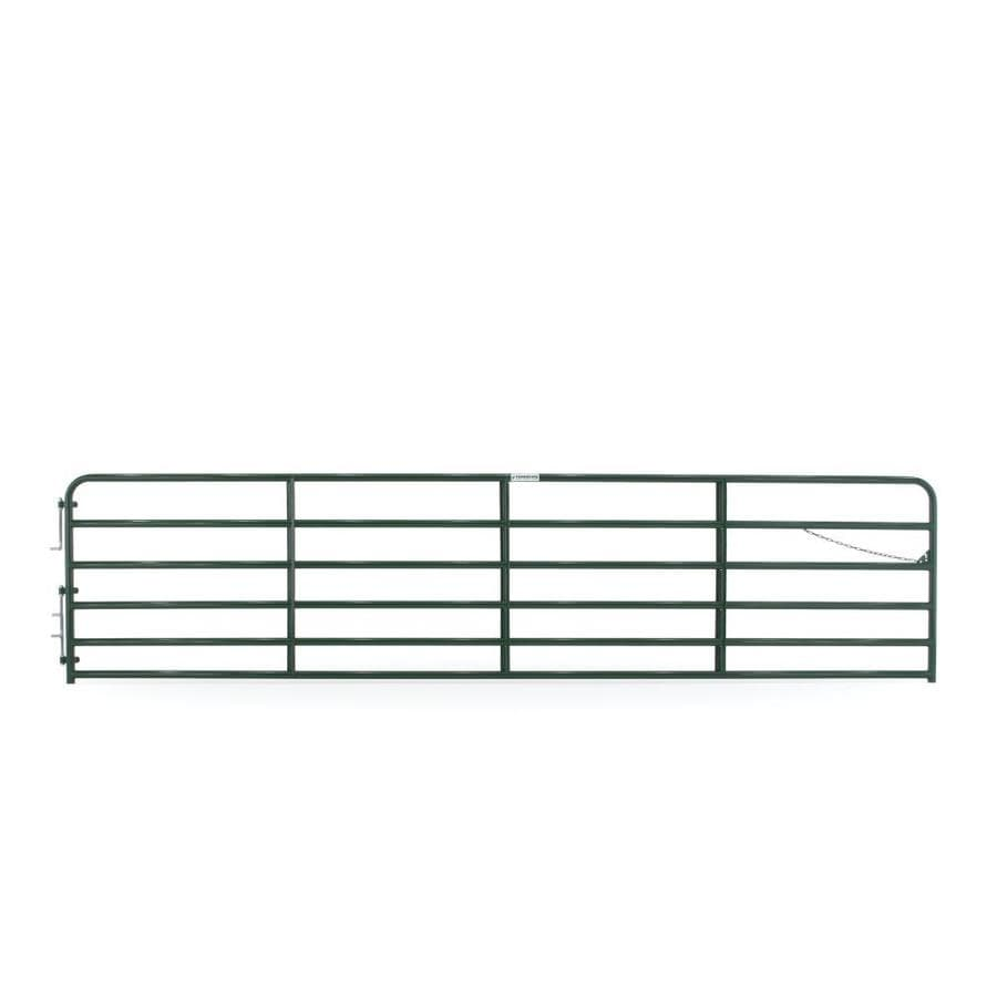 Tarter (Common: 4.33-ft x 18-ft; Actual: 4.33-ft x 17.75-ft) Green Powder Over E-Coat Steel Farm Fence Gate