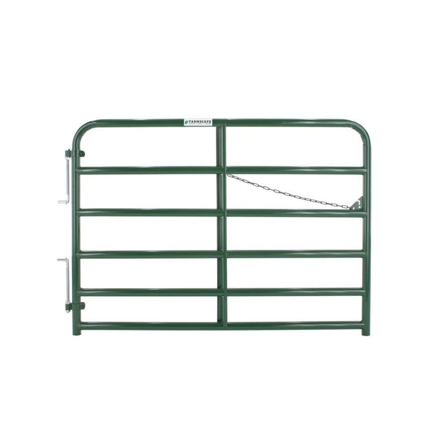 Tarter (Common: 4.33-ft x 6-ft; Actual: 4.33-ft x 5.75-ft) Green Powder Over E-Coat Steel Farm Fence Gate
