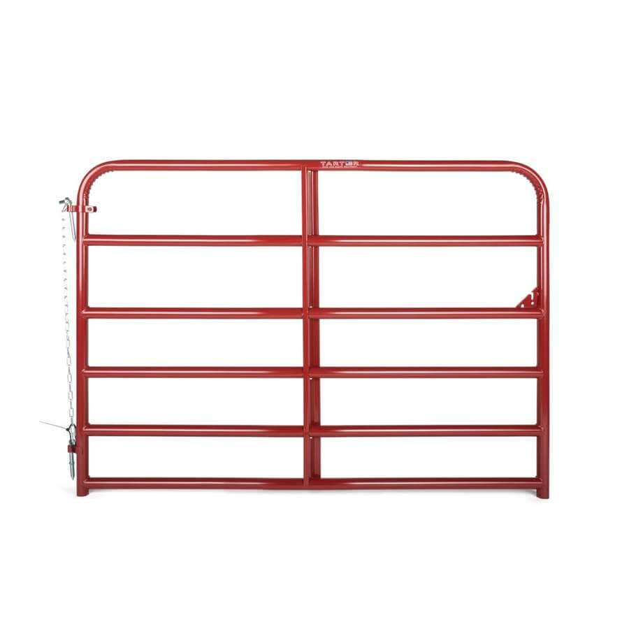 Tarter (Common: 4.16-ft x 6-ft; Actual: 4.16-ft x 5.75-ft) Red E-Coat Steel Farm Fence Gate