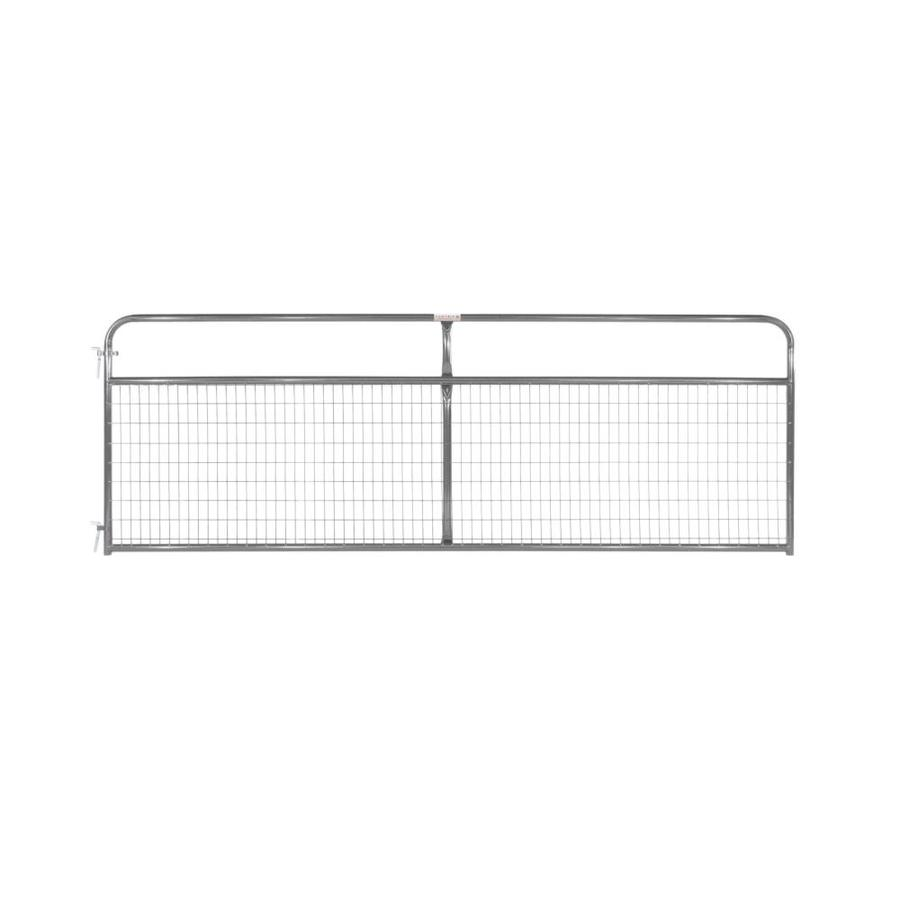 Tarter (Common: 4.16-ft x 12-ft; Actual: 4.16-ft x 11.75-ft) Gray Powder Over E-Coat Steel Farm Fence Gate