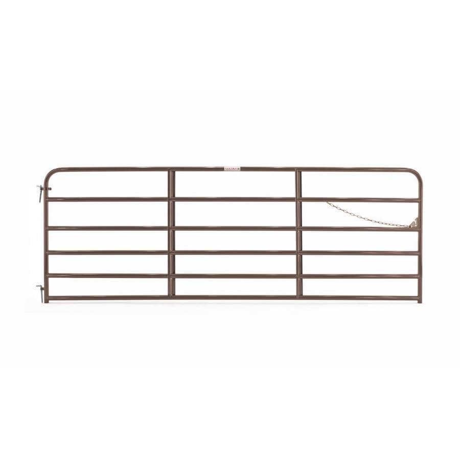 Tarter (Common: 4.16-ft x 12-ft; Actual: 4.16-ft x 11.75-ft) Brown Powder Coat Steel Farm Fence Gate