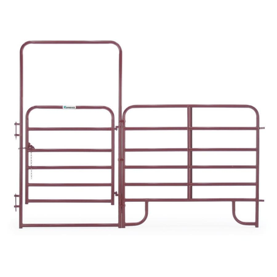 Tarter (Common: 8-ft x 10-ft; Actual: 8-ft x 10.58-ft) Red E-Coat Steel Farm Fence Walk-Thru Gate