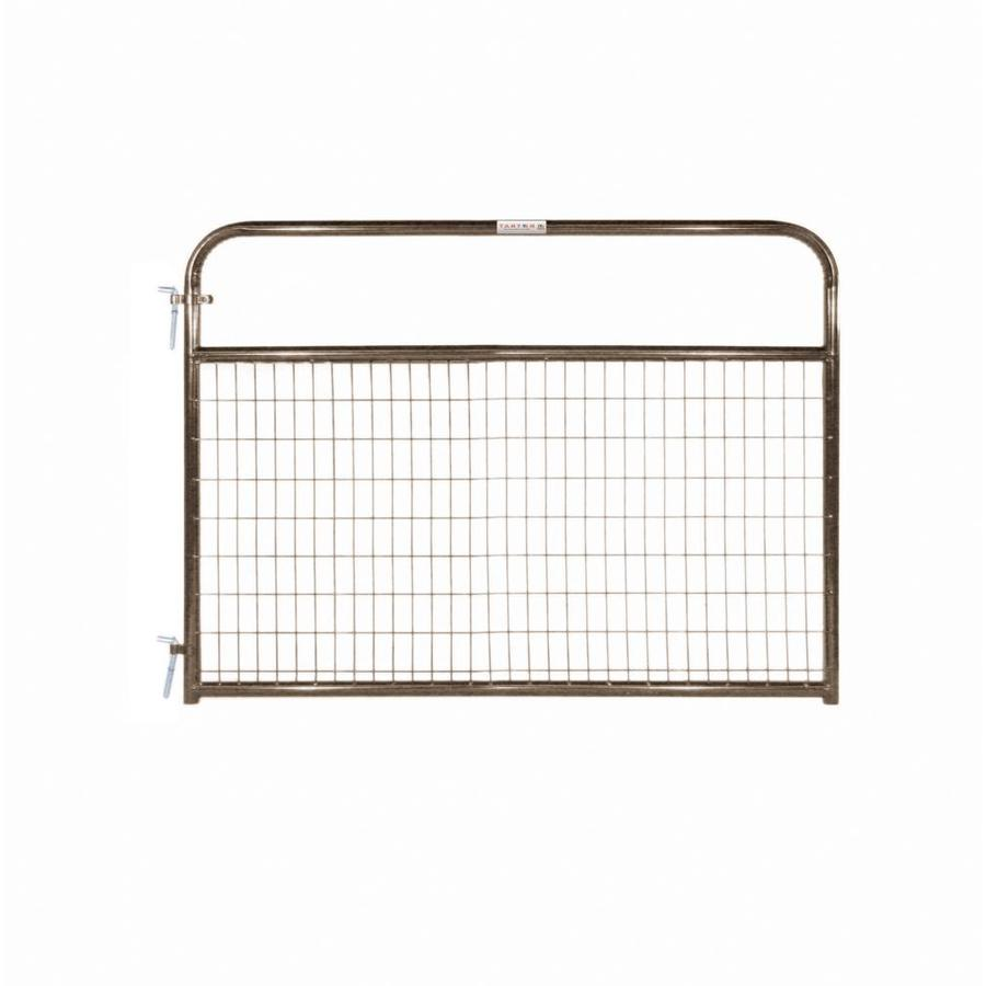 Tarter (Common: 4.16-ft x 6-ft; Actual: 4.16-ft x 5.75-ft) Brown Powder Coat Steel Farm Fence Gate