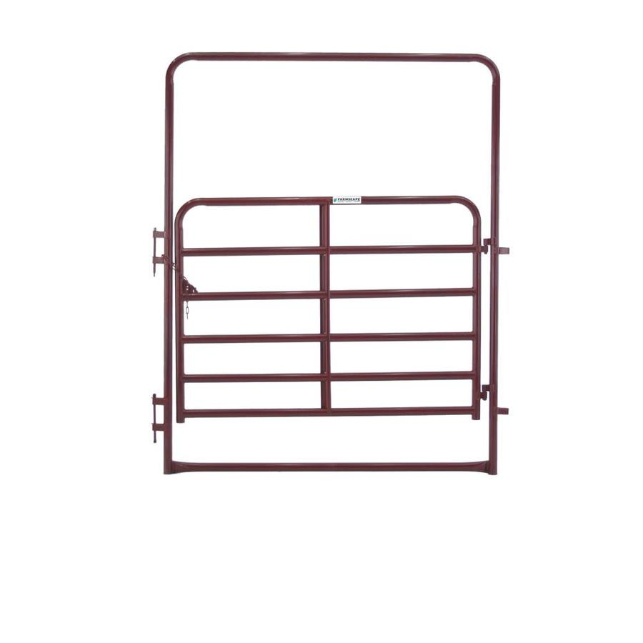 Tarter (Common: 8-ft x 6-ft; Actual: 8-ft x 7-ft) Red E-Coat Steel Farm Fence Walk-Thru Gate