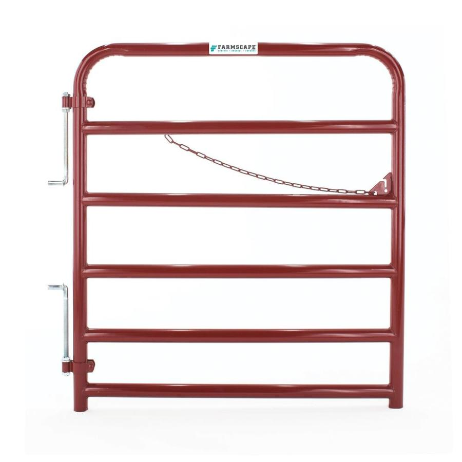 Tarter (Common: 4.33-ft x 4-ft; Actual: 4.33-ft x 3.75-ft) Red E-Coat Steel Farm Fence Gate