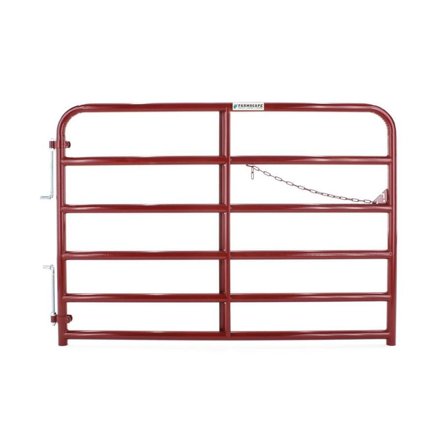 Tarter (Common: 4.33-ft x 6-ft; Actual: 4.33-ft x 5.75-ft) Red E-Coat Steel Farm Fence Gate