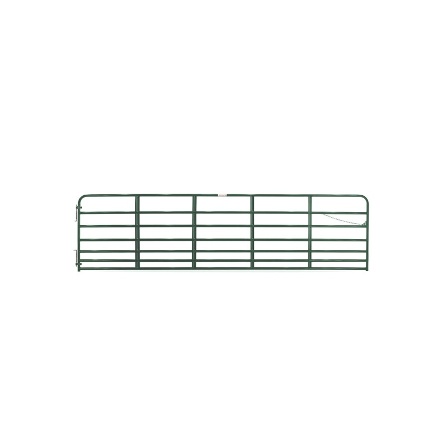 Tarter (Common: 4.16-ft x 16-ft; Actual: 4.16-ft x 15.75-ft) Green Powder Over E-Coat Steel Farm Fence Gate